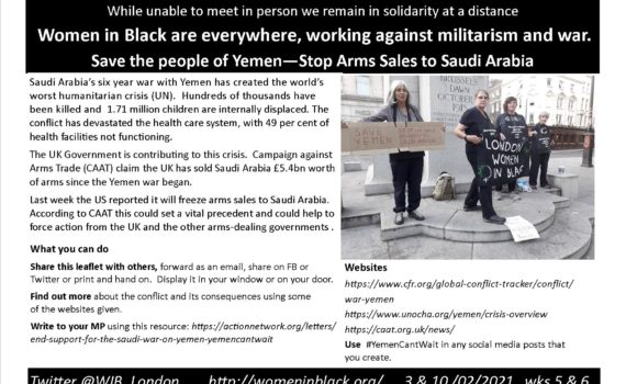 text abour arms sales to Yemen and image of vigil