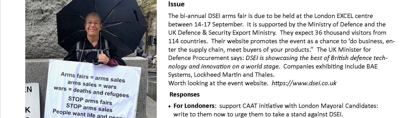 Photo and text alert to DSEI arms fair
