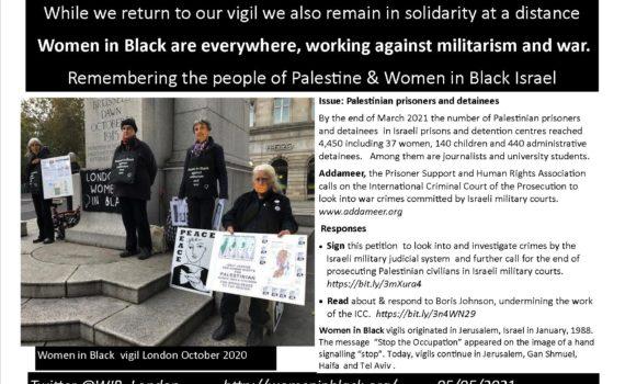 LHS, women vigil for Israel Palestine, text on RHS